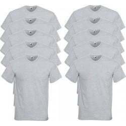 10 Stuks - Fruit of the Loom - V-Hals ValueWeight T-shirt (Grijs Gemeleerd) maat XL