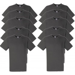 10 Stuks - Fruit of the Loom - V-Hals ValueWeight T-shirt (Donkergrijs) maat XL