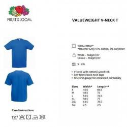 10 Stuks - Fruit of the Loom - V-Hals ValueWeight T-shirt (Donker Navy) maat S