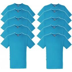 10 Stuks - Fruit of the Loom - Valueweight V-Hals T-shirt (Saffierblauw) maat S