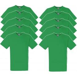 10 Stuks - Fruit of the Loom - V-Hals ValueWeight T-shirt (Groen) maat M