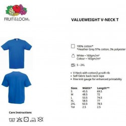 10 Stuks - Fruit of the Loom - V-Hals ValueWeight T-shirt (Groen) maat L