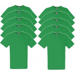 10 Stuks - Fruit of the Loom - V-Hals ValueWeight T-shirt (Groen) maat XL
