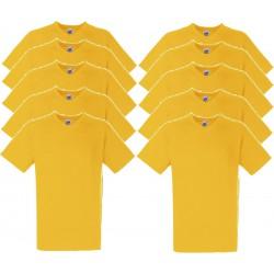 10 Stuks - Fruit of the Loom - V-Hals ValueWeight T-shirt (Geel) maat M