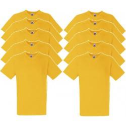 10 Stuks - Fruit of the Loom - V-Hals ValueWeight T-shirt (Geel) maat L