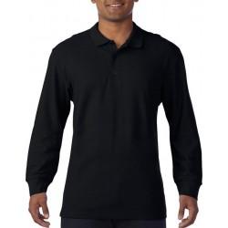 Gildan Heren Lange Mouw Dubbel Piqué Katoenen Poloshirt (Zwart) maat S