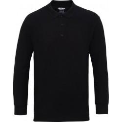 Gildan Heren Lange Mouw Dubbel Piqué Katoenen Poloshirt (Zwart) maat M