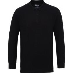 Gildan Heren Lange Mouw Dubbel Piqué Katoenen Poloshirt (Zwart) maat 2XL