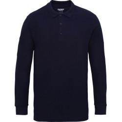 Gildan Heren Lange Mouw Dubbel Piqué Katoenen Poloshirt (Marine)