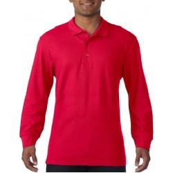 Gildan Heren Lange Mouw Dubbel Piqué Katoenen Poloshirt (Rood) maat S
