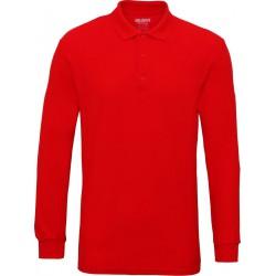 Gildan Heren Lange Mouw Dubbel Piqué Katoenen Poloshirt (Rood) maat M