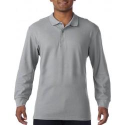 Gildan Heren Lange Mouw Dubbel Piqué Katoenen Poloshirt (Sportgrijs) maat S