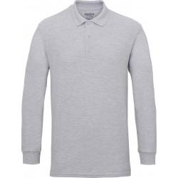 Gildan Heren Lange Mouw Dubbel Piqué Katoenen Poloshirt (Sportgrijs) maat 2XL