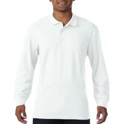 Gildan Heren Lange Mouw Dubbel Piqué Katoenen Poloshirt (Wit) maat M