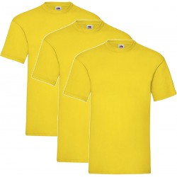 3 Stuks - Fruit of the Loom - Valueweight T-shirt (Geel) Maat XL
