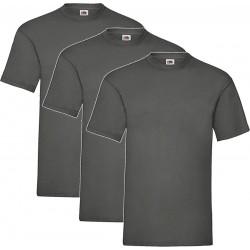3 Stuks - Fruit of the Loom - Valueweight T-shirt (Donkergrijs) Maat M