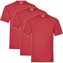 3 Stuks - Fruit of the Loom - Kinder T-shirt (Rood) Maat 152