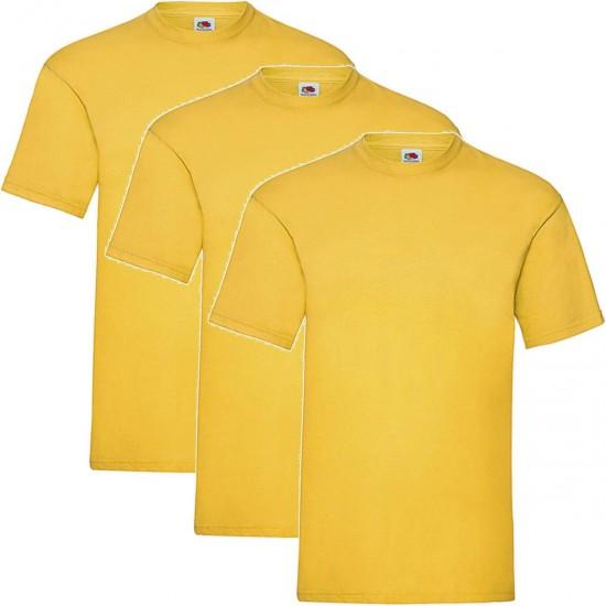 3 Stuks - Fruit of the Loom - Kinder T-shirt (Donkergeel) Maat 128
