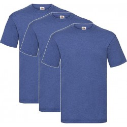 3 Stuks - Fruit of the Loom - Kinder T-shirt (Koningsblauw Gemeleerd) Maat 164