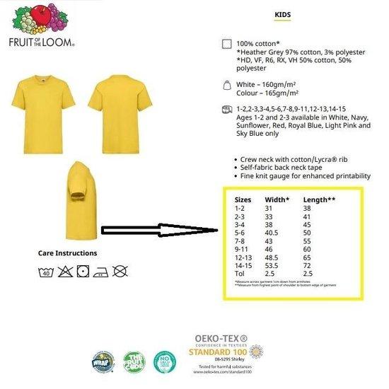 3 Stuks - Fruit of the Loom - Kinder T-shirt (Wit) Maat 128