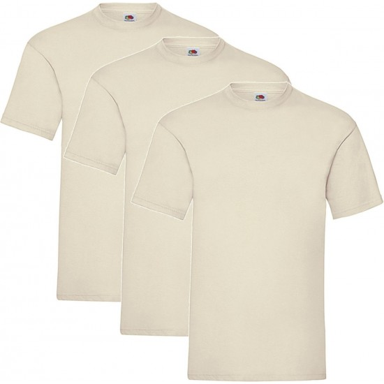 3 Stuks - Fruit of the Loom - Kinder T-shirt (Vanille) Maat 152