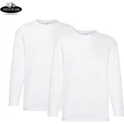 2 Stuks - Fruit of the Loom - ValueWeight Longsleeve T-shirt (Wit) maat S