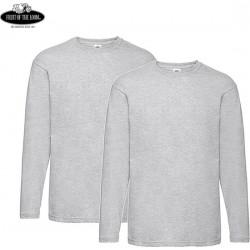 2 Stuks - Fruit of the Loom - ValueWeight Longsleeve T-shirt (Grijs Gemeleerd) maat XXL