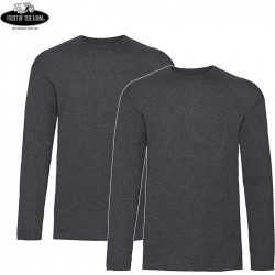 2 Stuks - Fruit of the Loom - ValueWeight Longsleeve T-shirt (Donkergrijs) maat S