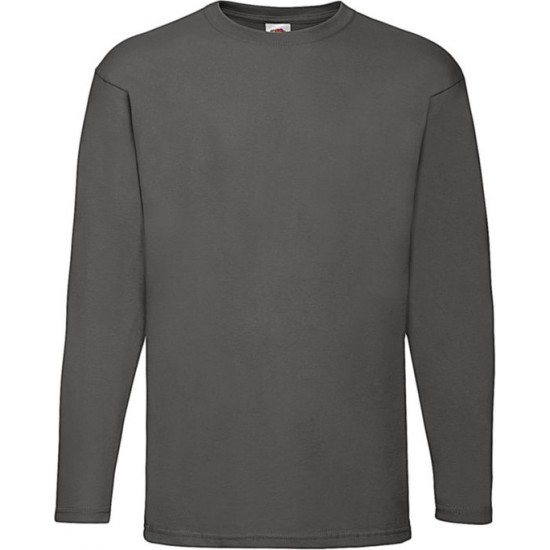 2 Stuks - Fruit of the Loom - ValueWeight Longsleeve T-shirt (Grijs) maat L
