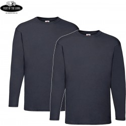 2 Stuks - Fruit of the Loom - ValueWeight Longsleeve T-shirt (Navy) maat L