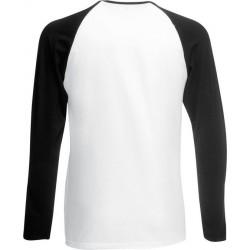 Fruit of the Loom - Baseball Longsleeve T-shirt (Wit/Zwart) maat L