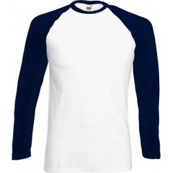 Fruit of the Loom - Baseball Longsleeve T-shirt (Wit/Navy) maat XL