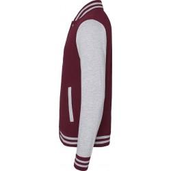 Awdis - Baseball Jacket (Bordeauxrood/Grijs Gemeleerd) maat XS