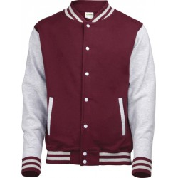 Awdis - Baseball Jacket (Bordeauxrood/Grijs Gemeleerd) maat XL