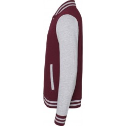 Awdis - Baseball Jacket (Bordeauxrood/Grijs Gemeleerd) maat S