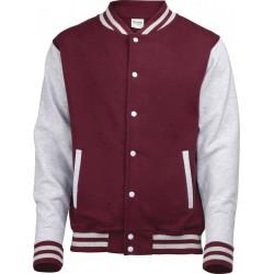 Awdis - Baseball Jacket (Bordeauxrood/Grijs Gemeleerd) maat M