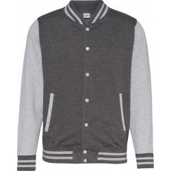 Awdis - Baseball Jacket (Donkergrijs/Grijs Gemeleerd) maat XL