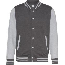 Awdis - Baseball Jacket (Donkergrijs/Grijs Gemeleerd) maat S