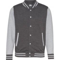 Awdis - Baseball Jacket (Donkergrijs/Grijs Gemeleerd) maat L