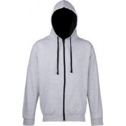 Awdis - Varsity Hooded Sweatshirt / Hoodie / Zoodie (Grijs gemeleerd / Navy) maat L
