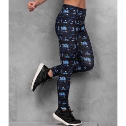 Girlie cool printed sport legging, Kleur Abstract Blue, Maat XL