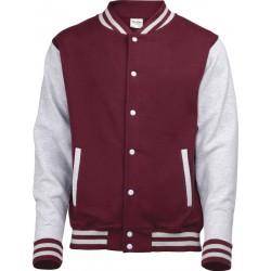 AAwdis - Baseball Jacket (Bordeauxrood/Grijs Gemeleerd) maat XS