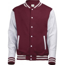 AAwdis - Baseball Jacket (Bordeauxrood/Grijs Gemeleerd) maat M