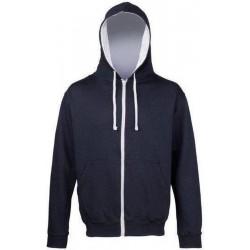 Awdis - Varsity Hooded Sweatshirt / Hoodie / Zoodie (Navy / Grijs gemeleerd) maat M