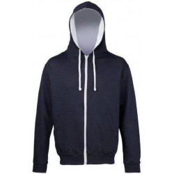 Awdis - Varsity Hooded Sweatshirt / Hoodie / Zoodie (Navy / Grijs gemeleerd) maat XL