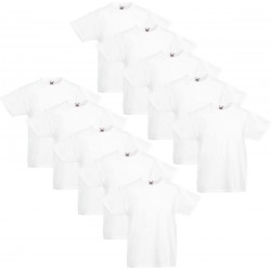 10 Stuks - Fruit of the Loom - Iconic T-shirt (Zwart) maat 128