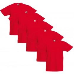 5 Stuks - Fruit of the Loom - Kinder Original T-shirt (Rood) Maat 164