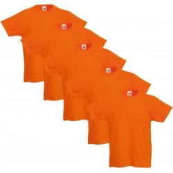 5 Stuks - Fruit of the Loom - Kinder Valueweight T-shirt (Oranje) maat 152