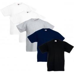 5 Stuks - Fruit of the Loom - Kinder Original T-shirt (Diverse Kleuren) Maat 164