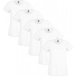 5 Stuks - Fruit of the Loom - Dames T-shirt (Wit) Maat L
